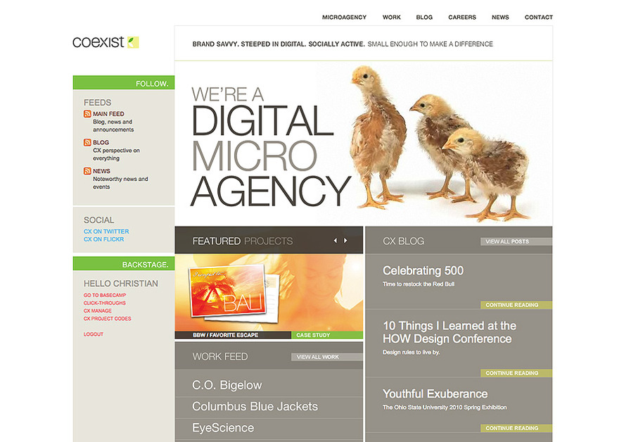 A great web design by Coexist, Columbus, OH: