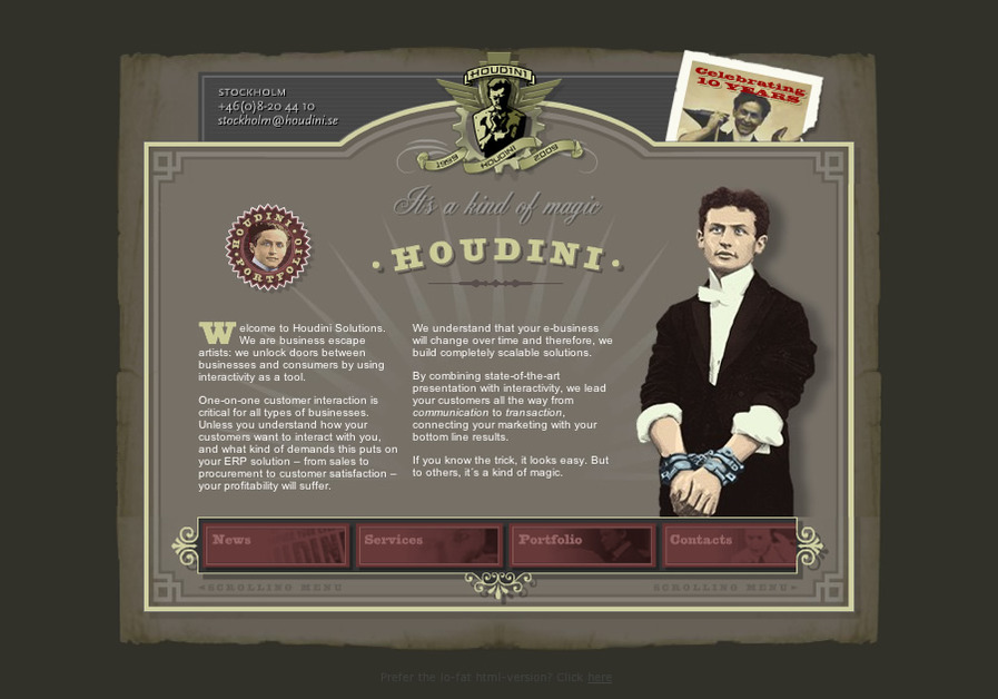 A great web design by Houdini, Chicago, IL: