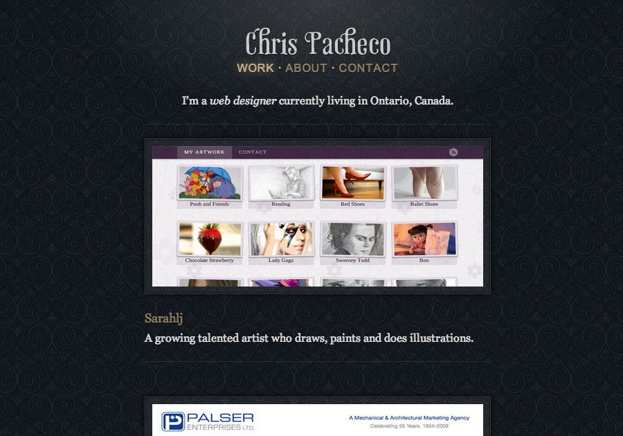 A great web design by Chris Pacheco, Toronto, Canada: