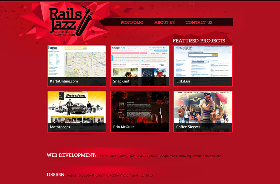 A great web design by RailsJazz.com, IvanoFrankivsk, Ukraine: