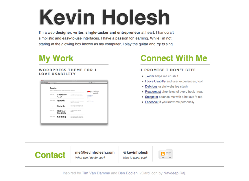 A great web design by Kevin Holesh, Pittsburgh, PA: