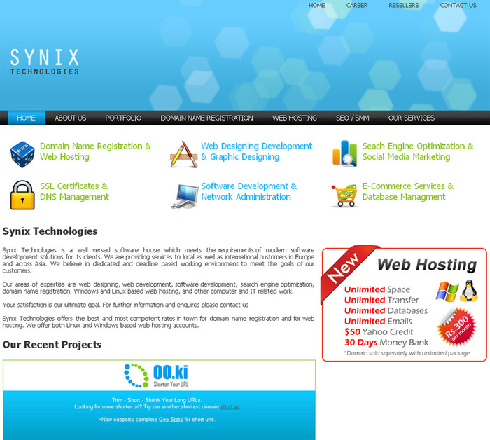 A great web design by Synix Technologies, Lahore, Pakistan: