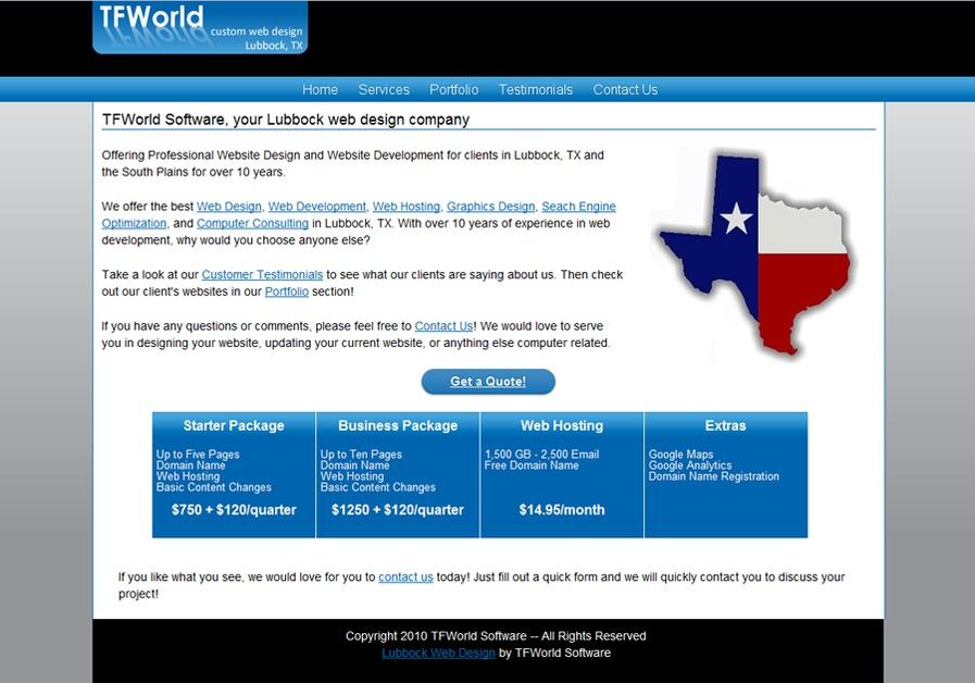 A great web design by TFWorld Software, Lubbock, TX: