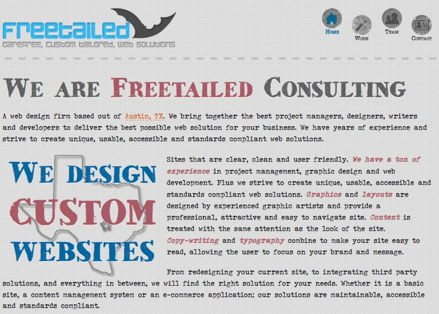 A great web design by Freetailed Consulting, Austin, TX: