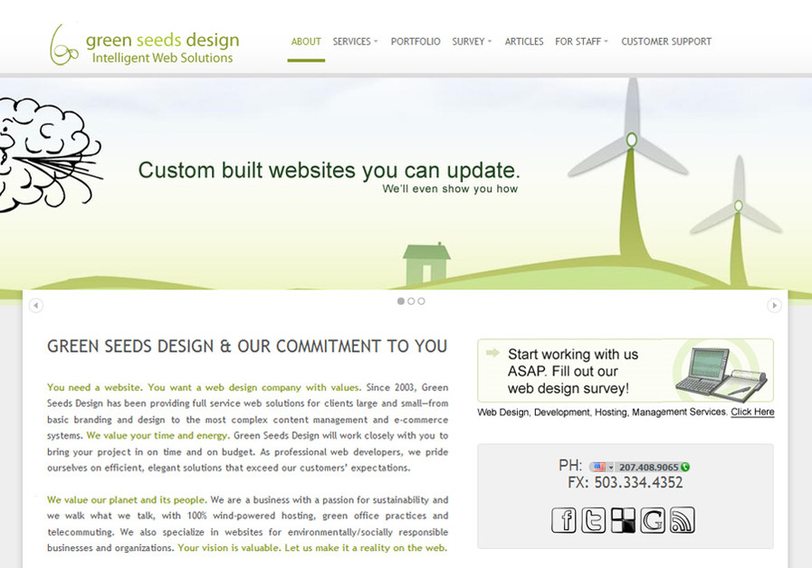 A great web design by Green Seeds Design, LLC, Portland, OR: