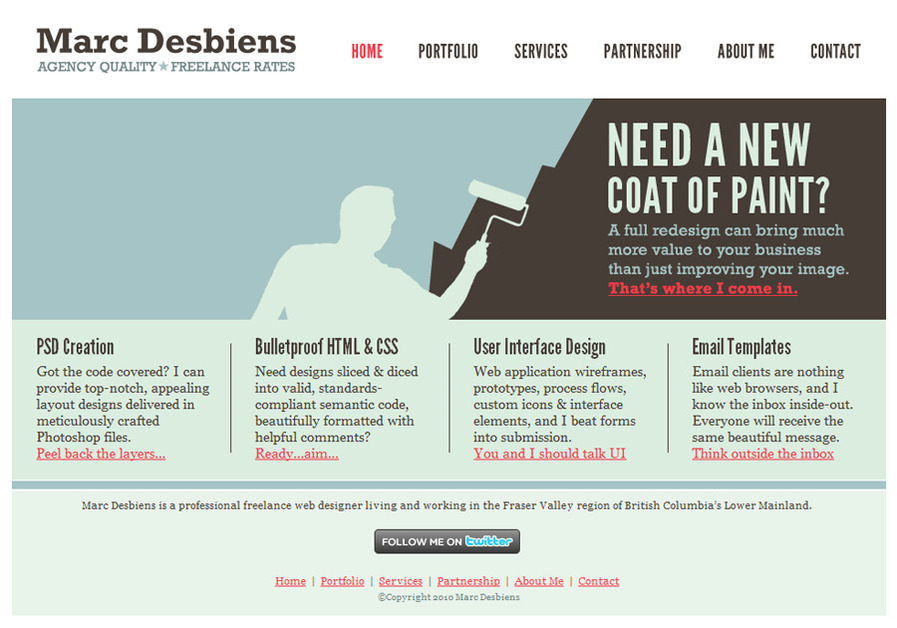 A great web design by Marc Desbiens, Fraser Valley, Canada: