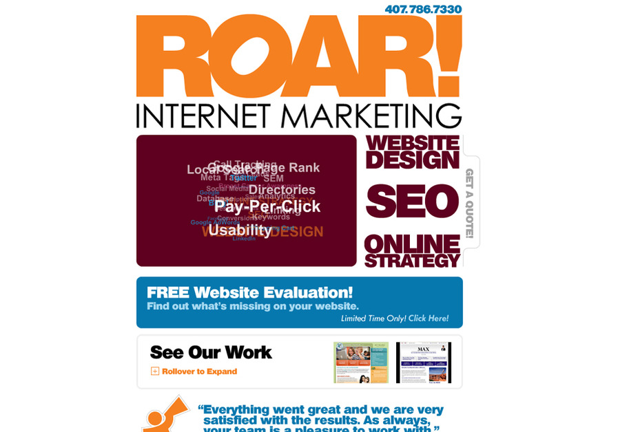 A great web design by ROAR! Internet Marketing, Orlando, FL: