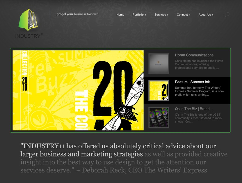 A great web design by INDUSTRY11, Boston, MA: