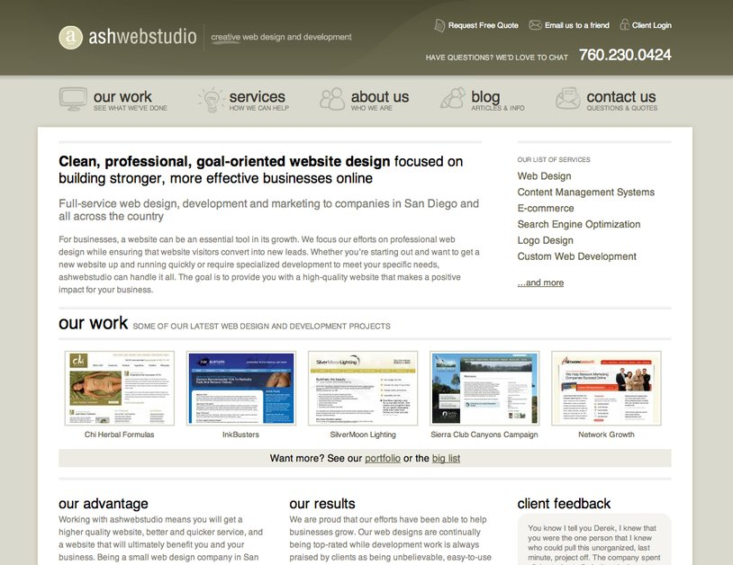 A great web design by ashwebstudio, San Diego, CA: