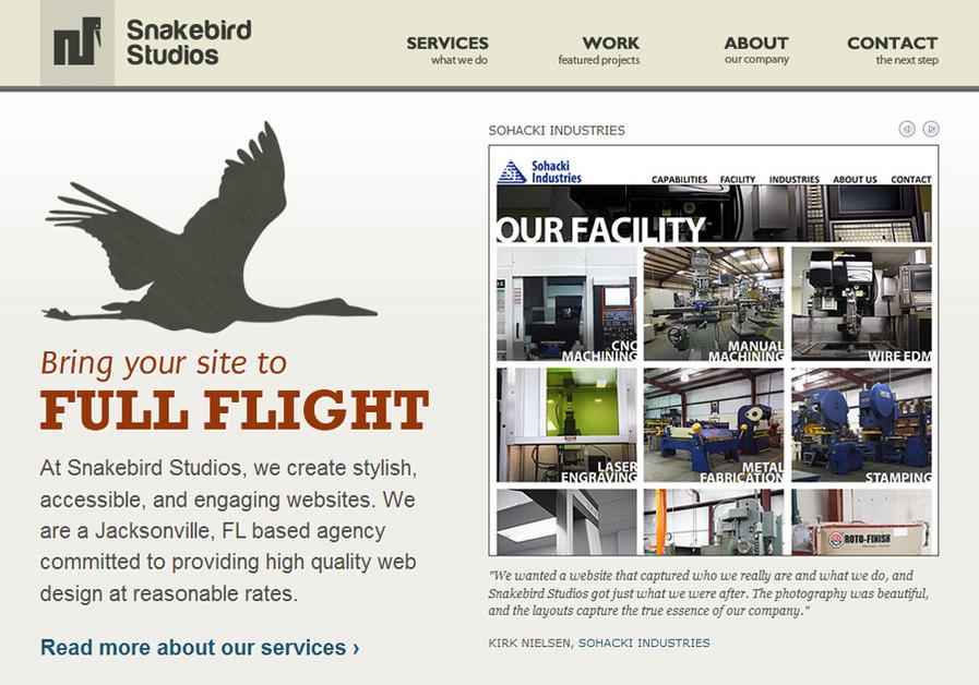 A great web design by Snakebird Studios, Jacksonville, FL: