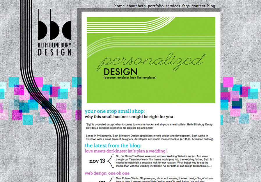 A great web design by Beth Blinebury Design, Philadelphia, PA: