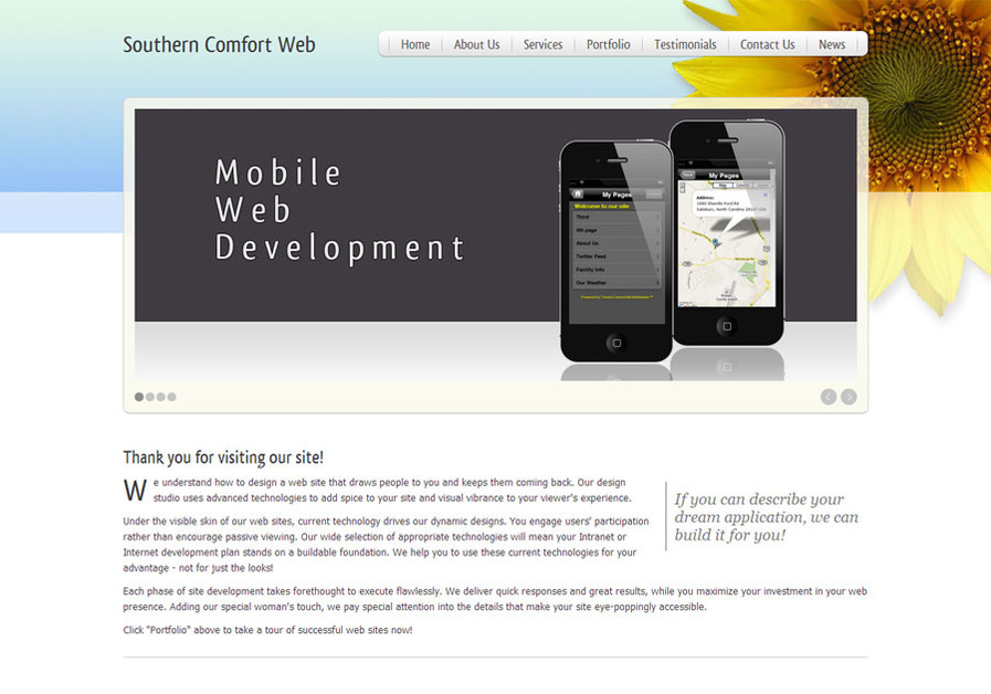 A great web design by Southern Comfort Web Development, Charlotte, NC: