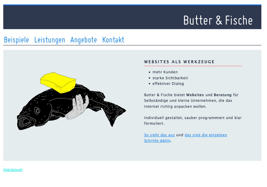 A great web design by Butter & Fische, Munich, Germany: