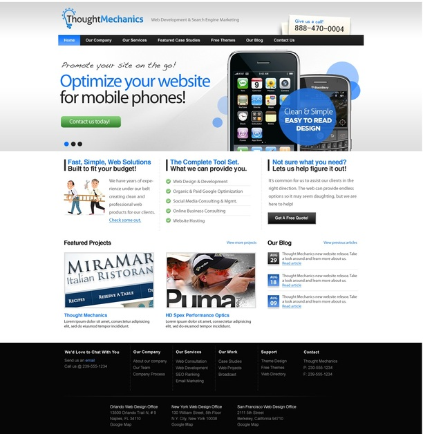 A great web design by Thought Mechanics Web Design and E-Marketing, Raleigh, NC: