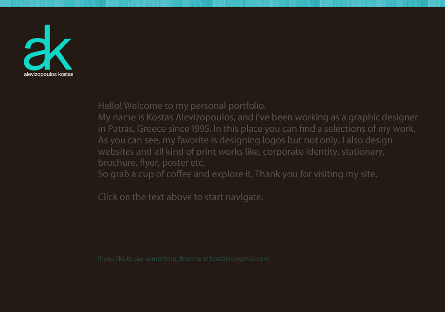 A great web design by Kostas Alevizopoulos, Patras, Greece: