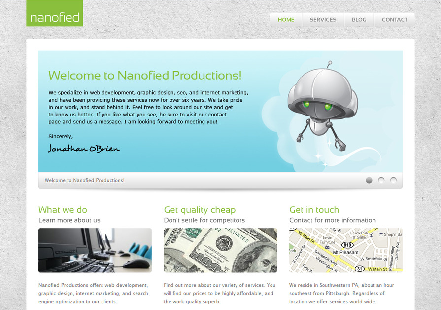 A great web design by Nanofied Productions, Pittsburgh, PA: