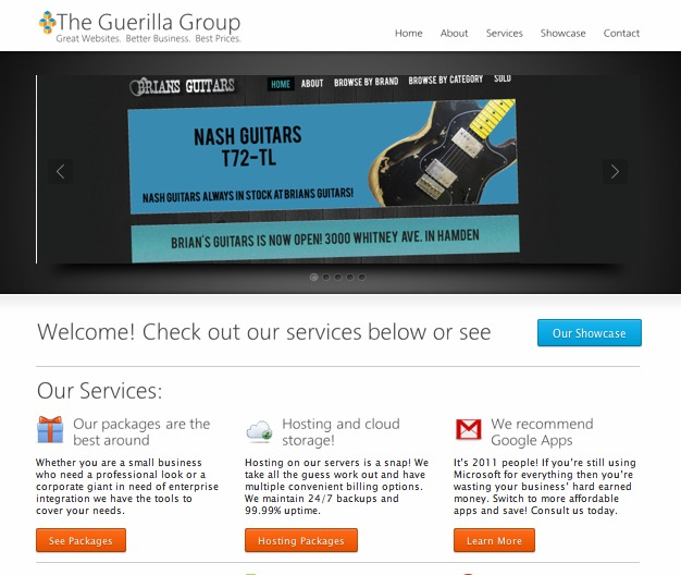 A great web design by The Guerilla Group, Hartford, CT:
