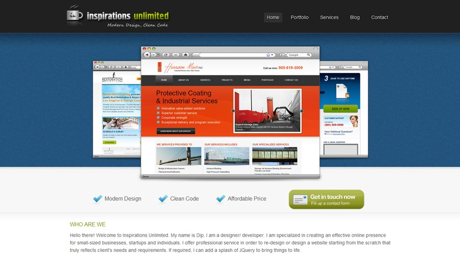 A great web design by Inspirations Unlimited, Bangalore, India: