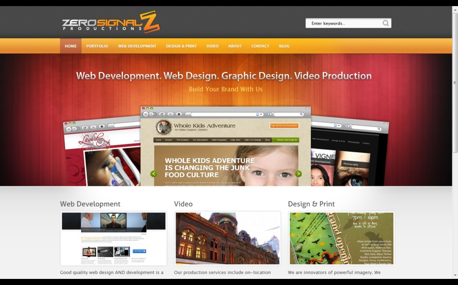 A great web design by Zero Signal Productions, Austin, TX: