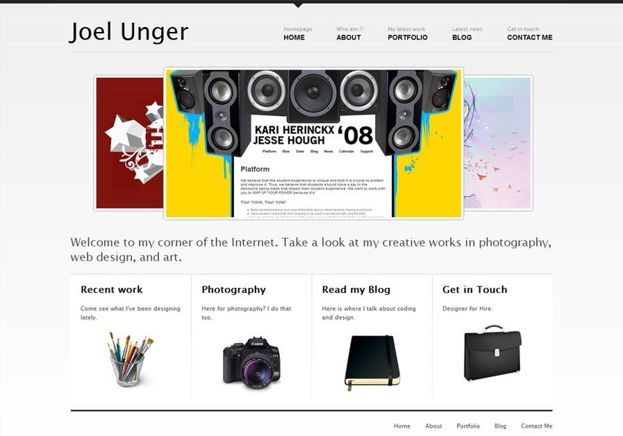 A great web design by Joel Unger, Eugene, OR: