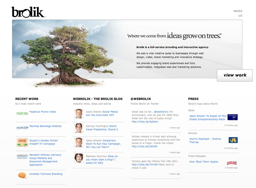A great web design by Brolik Productions, Philadelphia, PA: