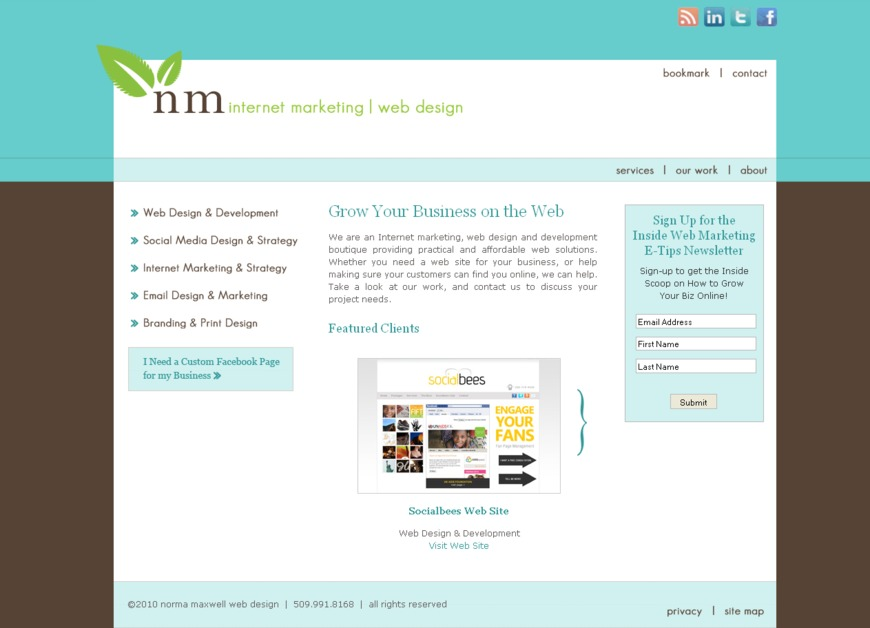 A great web design by Norma Maxwell Internet Marketing | Web Design, Minot, ND: