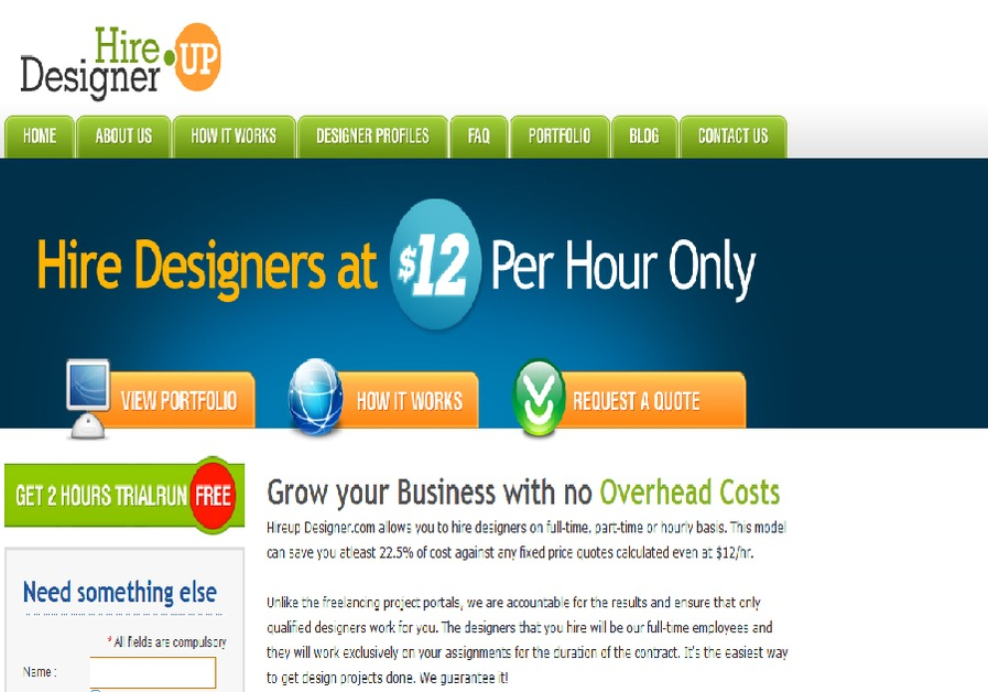 A great web design by Hire Up Designer, Chicago, IL: