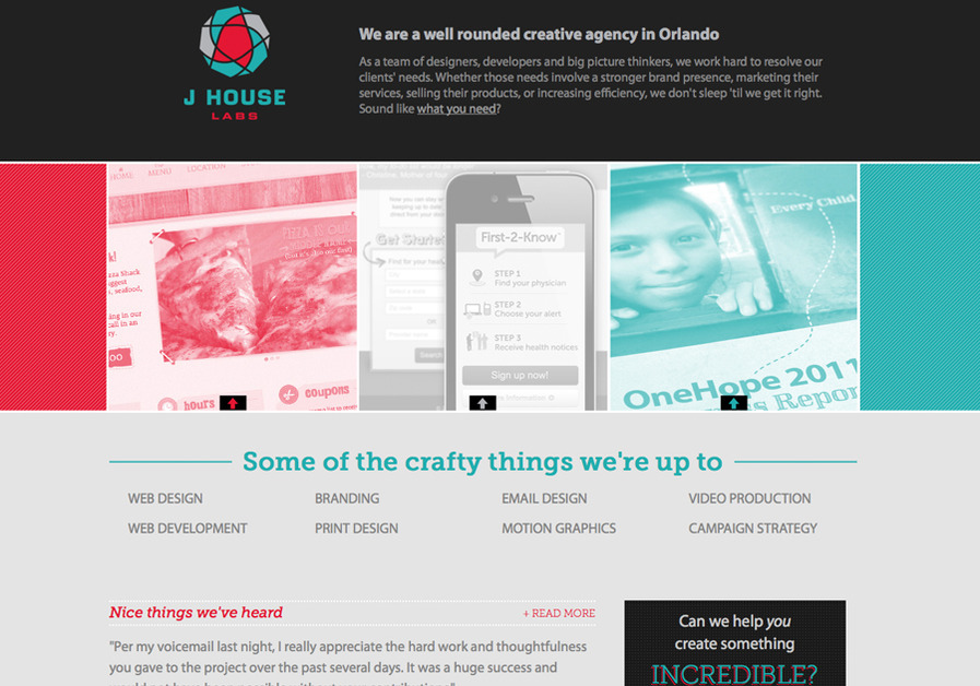 A great web design by J House Labs, Orlando, FL: