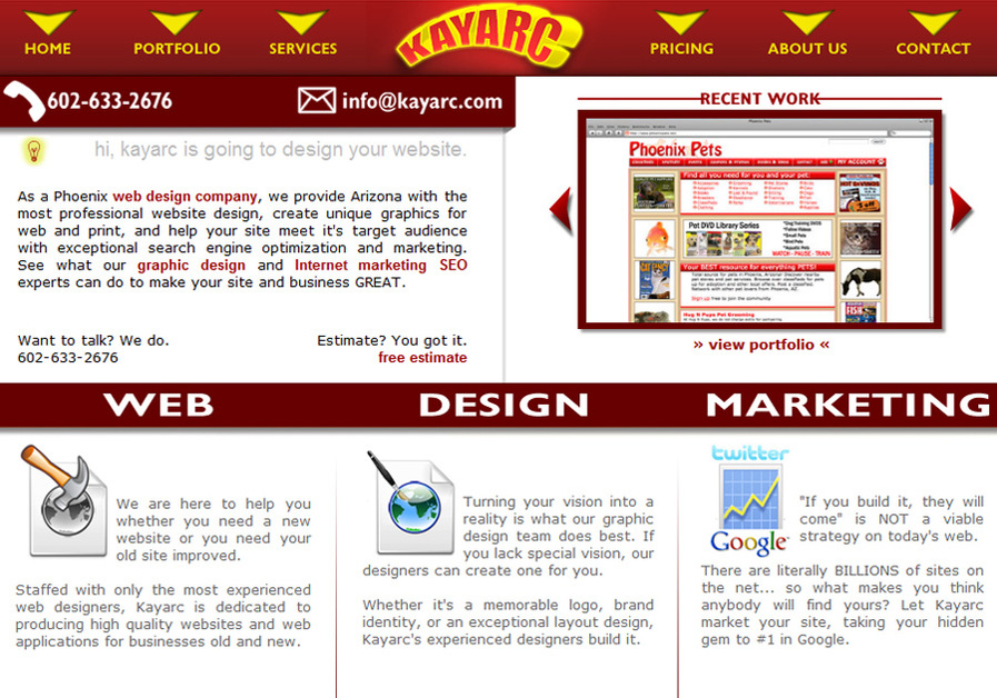 A great web design by Kayarc, Phoenix, AZ: