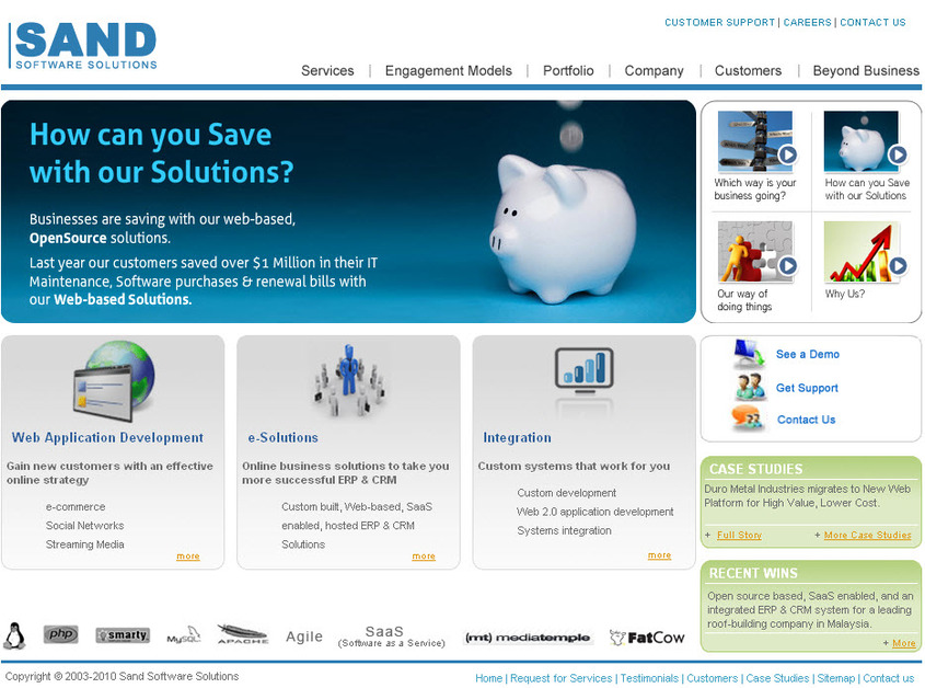 A great web design by Sand Software Solutions, Madison, WI: