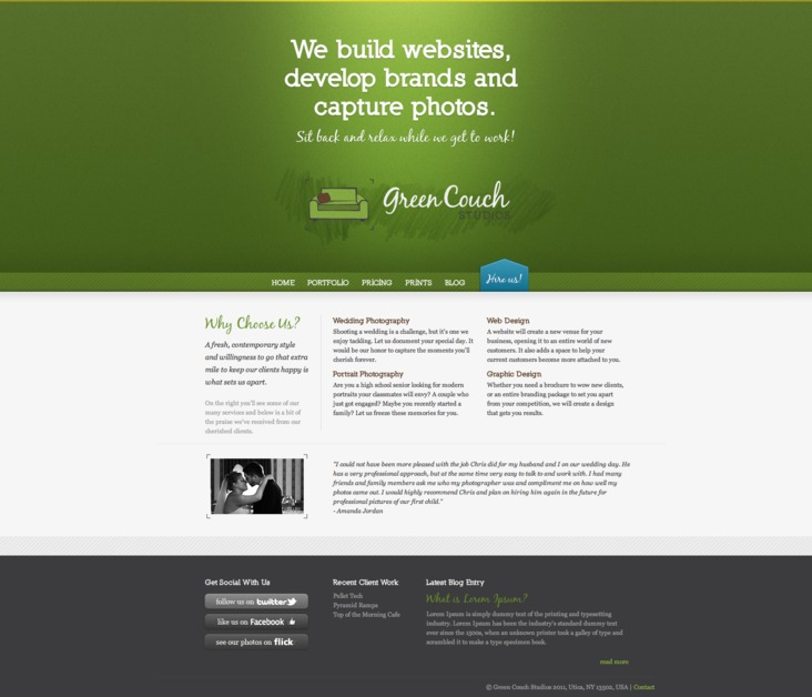 A great web design by Green Couch Studios, Utica, NY: