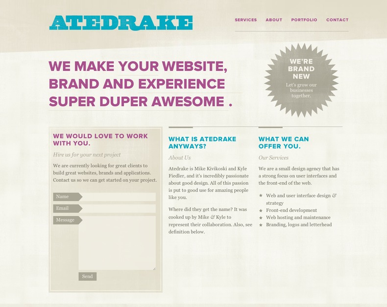 A great web design by Atedrake, Boston, MA: