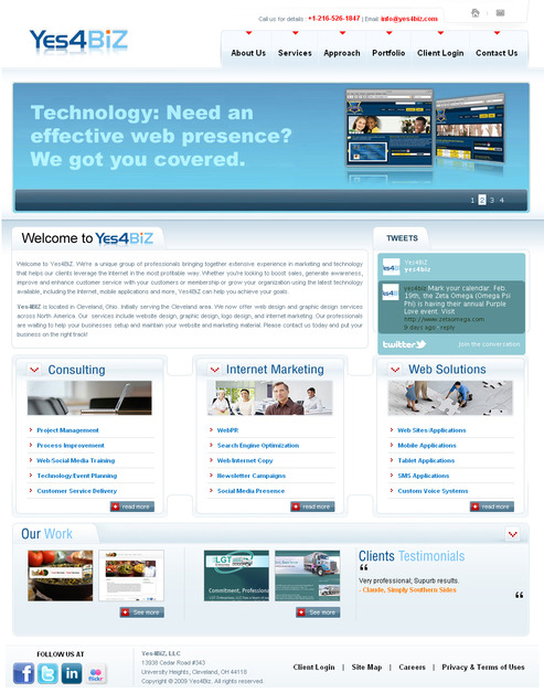 A great web design by Yes4BIZ, LLC, Cleveland, OH: