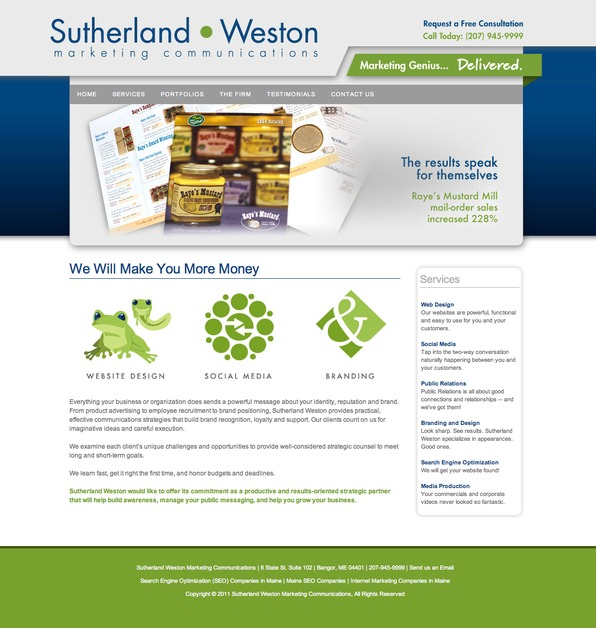 A great web design by Sutherland Weston, Bangor, ME: