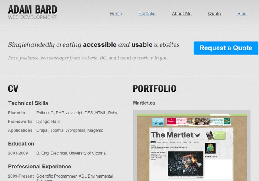 A great web design by Adam Bard, Victoria, Canada:
