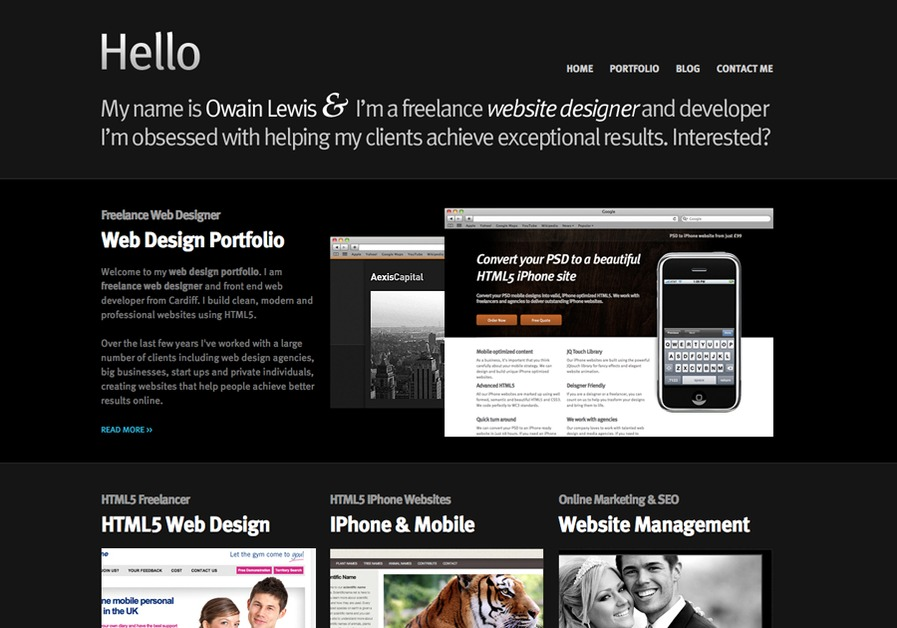 A great web design by Owain Lewis, Cardiff, United Kingdom:
