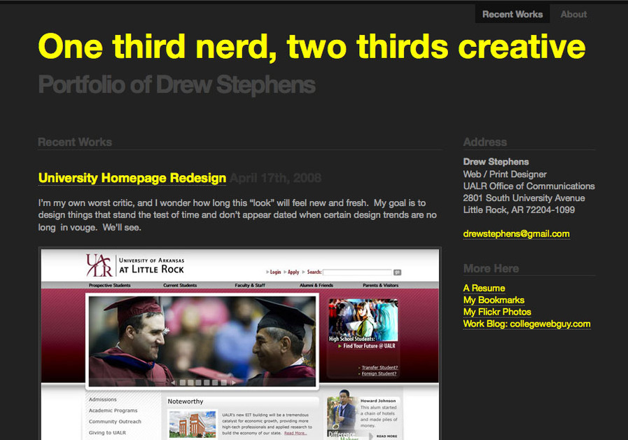 A great web design by Drew Stephens, Little Rock, AR: