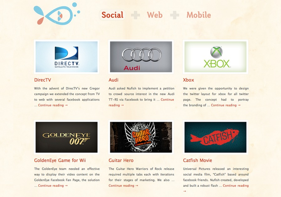 A great web design by Nufish.com, Los Angeles, CA: