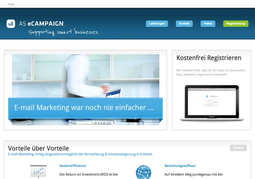 A great web design by AGENTUR SPIEGEL, Trier, Germany: