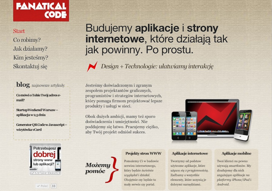 A great web design by Fanatical Code, Warsaw, Poland: