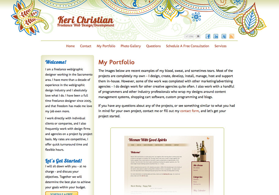 A great web design by My name is Keri Christian. I am a freelance web/graphic designer in the Sacramento, CA area., San Francisco, CA: