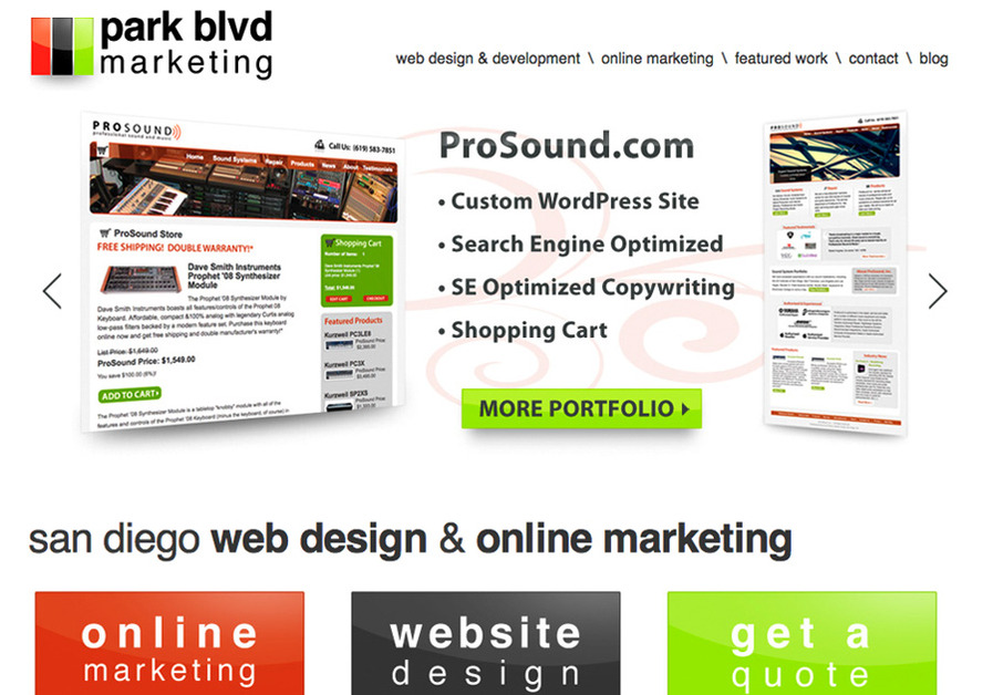 A great web design by Park Blvd. Marketing, Los Angeles, CA: