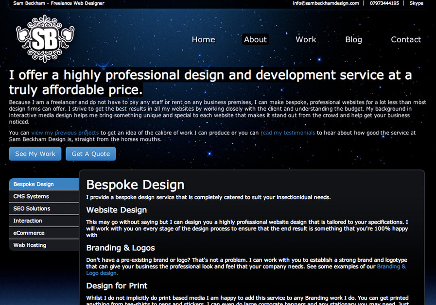 A great web design by Sam Beckham Design, Newcastle, United Kingdom:
