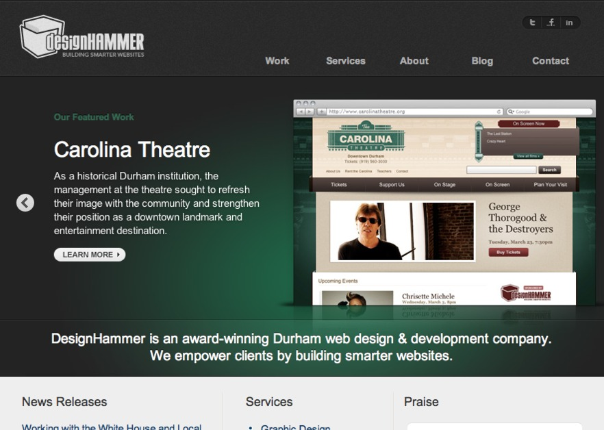 A great web design by DesignHammer Media Group, Durham, NC: