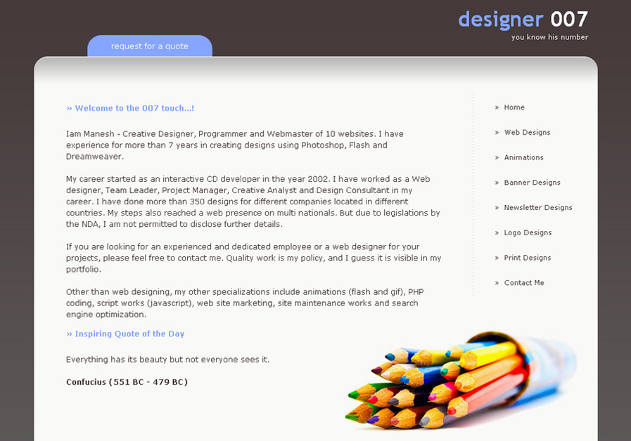 A great web design by Designer007, Cochin, India: