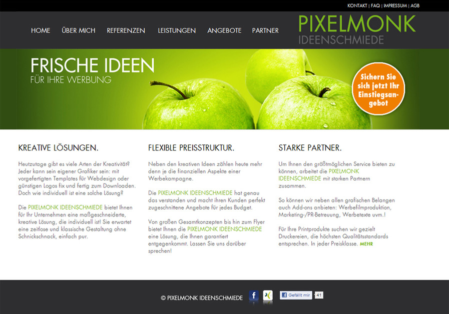 A great web design by PIXELMONK IDEENSCHMIEDE, Wuerzburg, Germany: