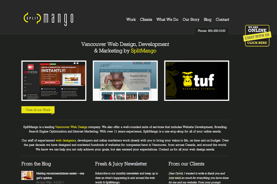 A great web design by SplitMango Media Inc., Vancouver, Canada: