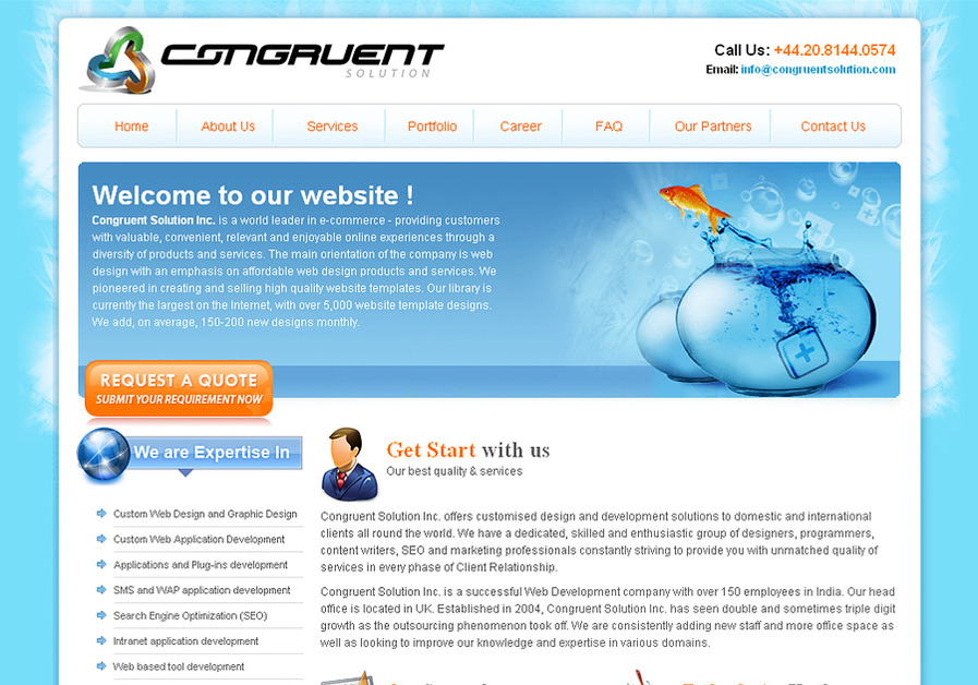 A great web design by Congruent Solution Inc., Kolkata, India: