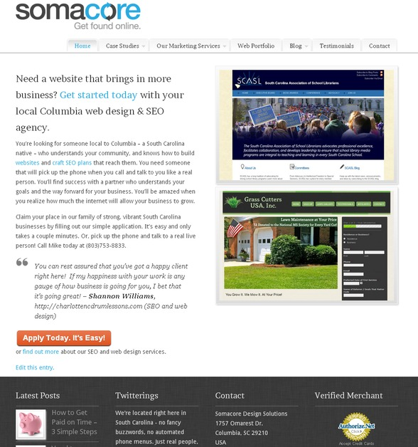 A great web design by Somacore Design Solutions LLC, Columbia, SC: