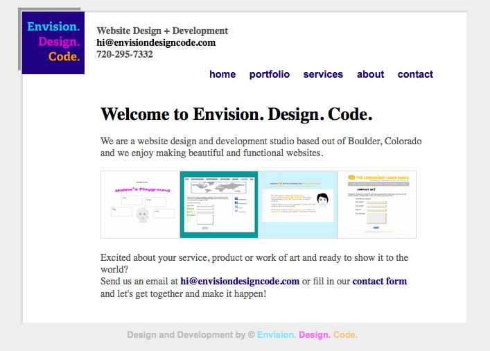 A great web design by Envision. Design. Code., Boulder, CO: